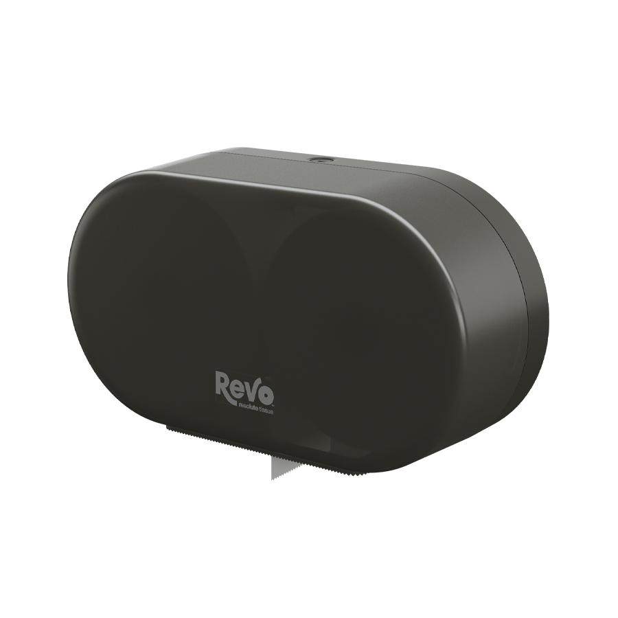 Revo™ Mini-Jumbo Twin Tissue Dispenser, Smoke Finish 572413